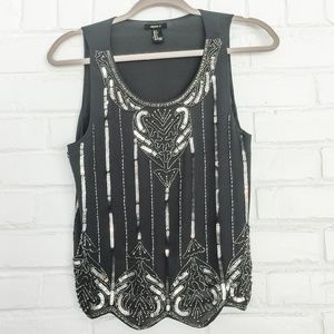 Forever 21 Beaded Sleeveless Blouse Size S